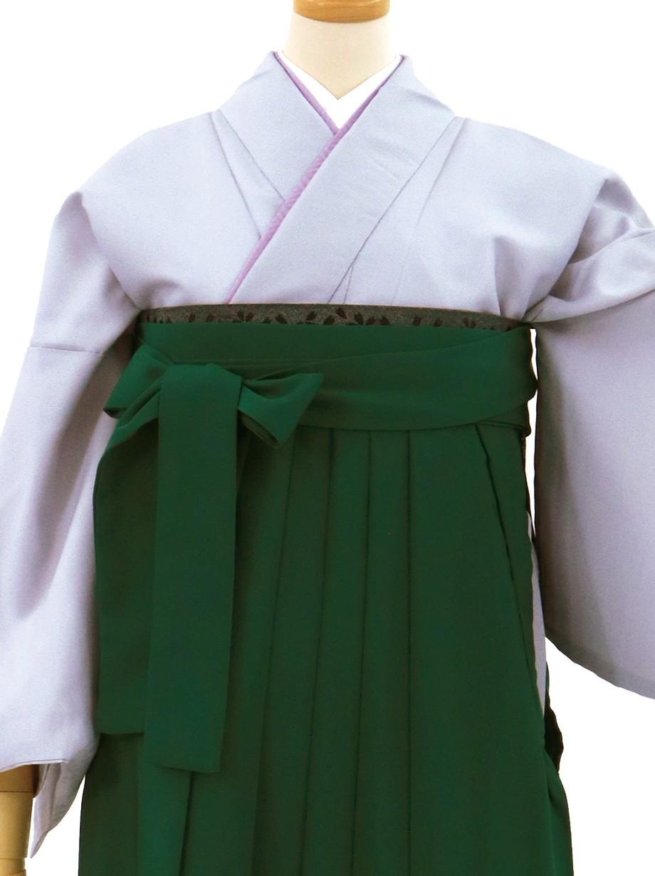 白鼠(しろねず)色の色無地・緑袴(無地)/卒業式