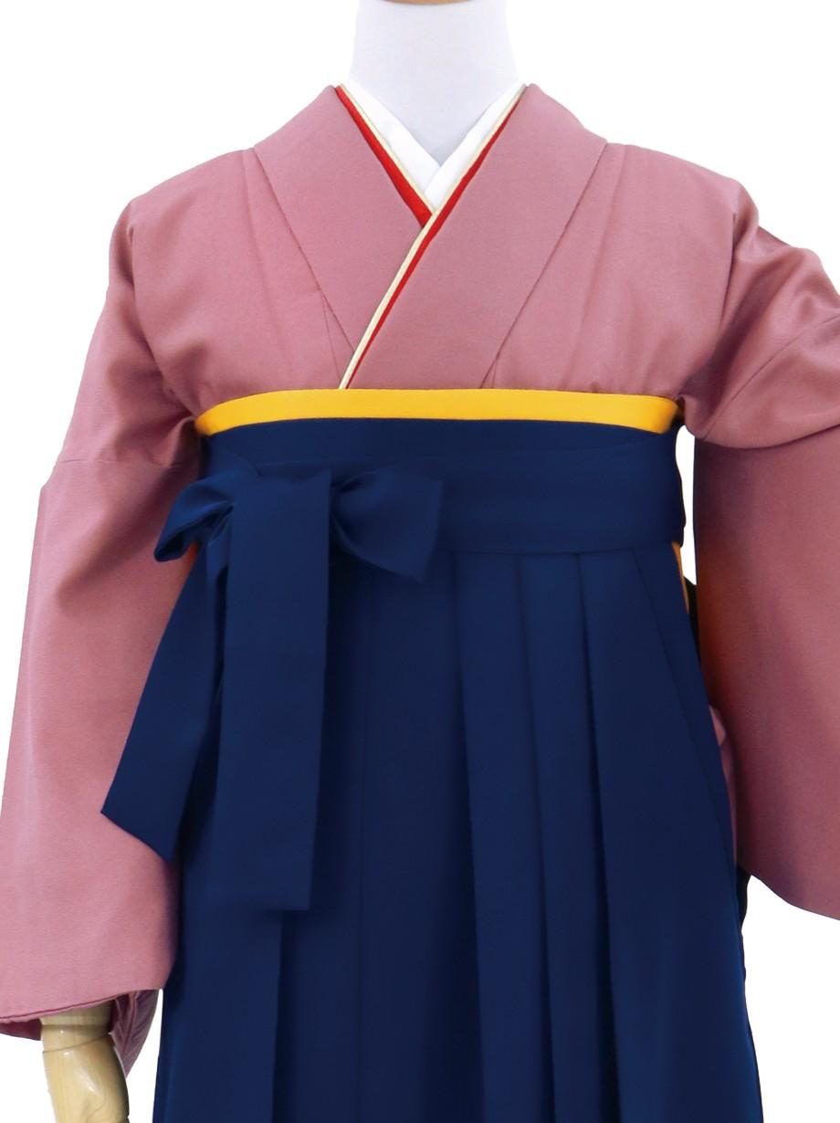 ピンクグレーの色無地・紺袴(無地)/卒業式