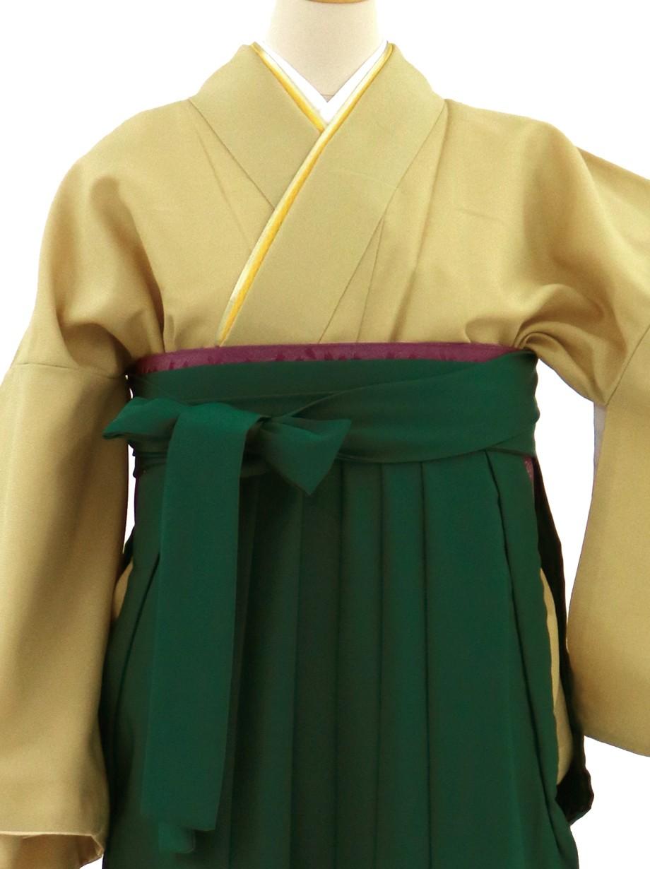 金茶色の色無地・緑袴(無地)/卒業式