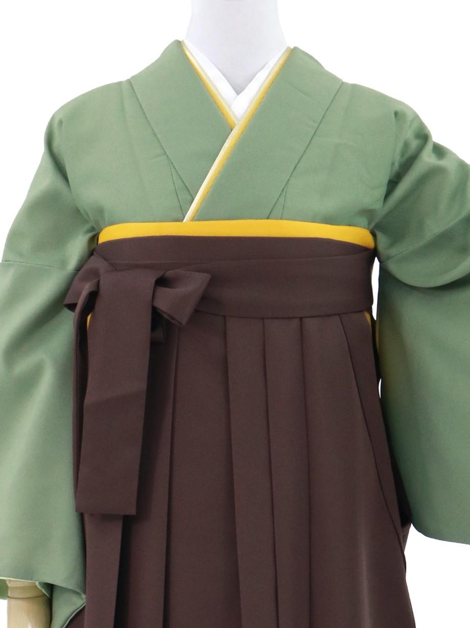 柳染(やなぎぞめ)色の色無地・茶色袴(無地)/卒業式