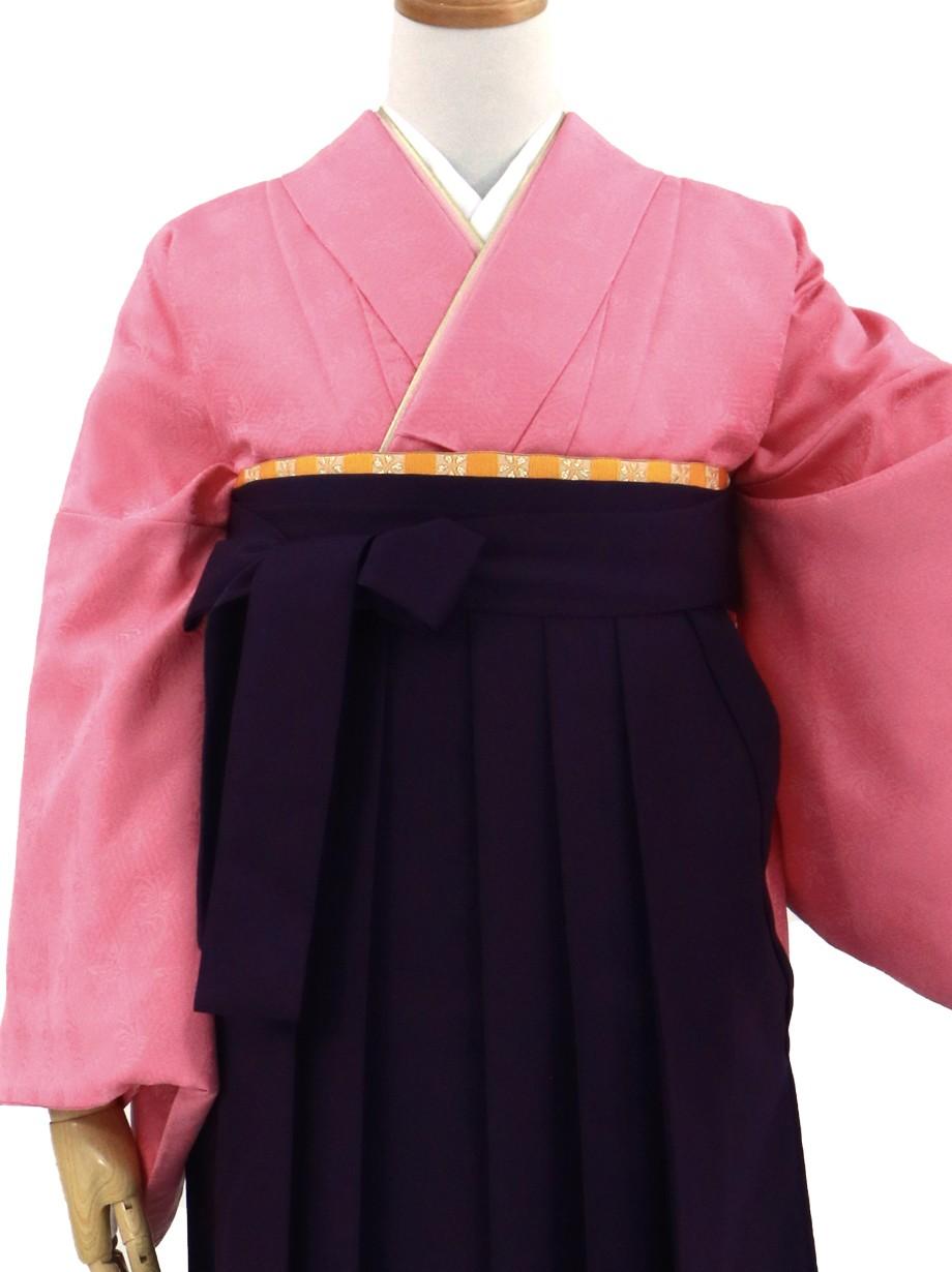 ローズピンクの色無地・紫袴(無地)/卒業式