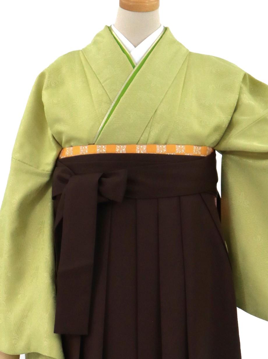 若菜(わかな)色の色無地・茶色袴(無地)/卒業式