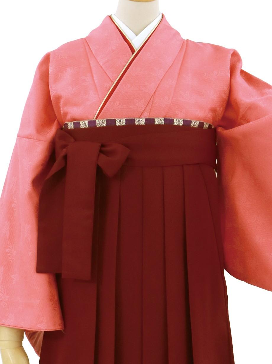 真朱(しんしゅ)色の色無地・臙脂袴(無地)/卒業式