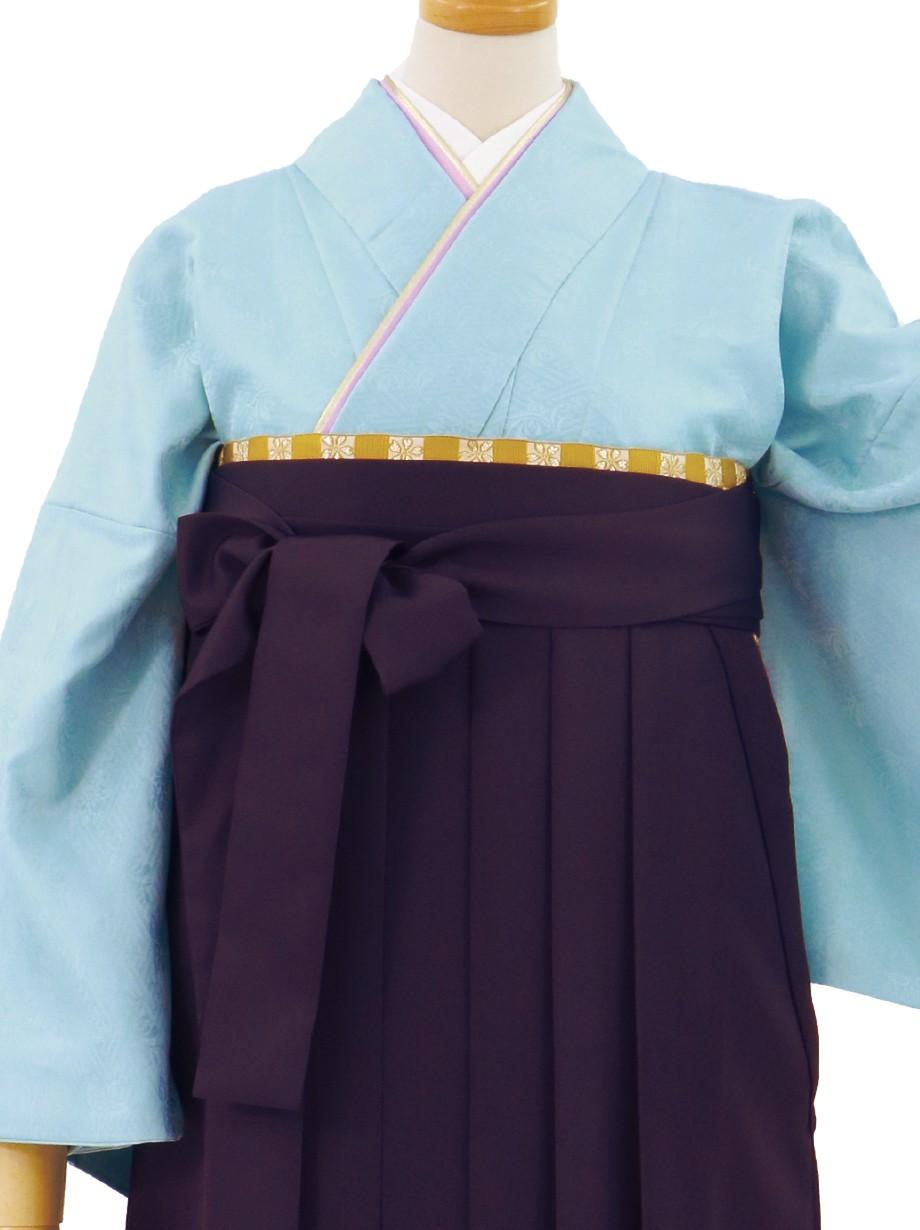 水色の色無地・紫袴(無地)/卒業式