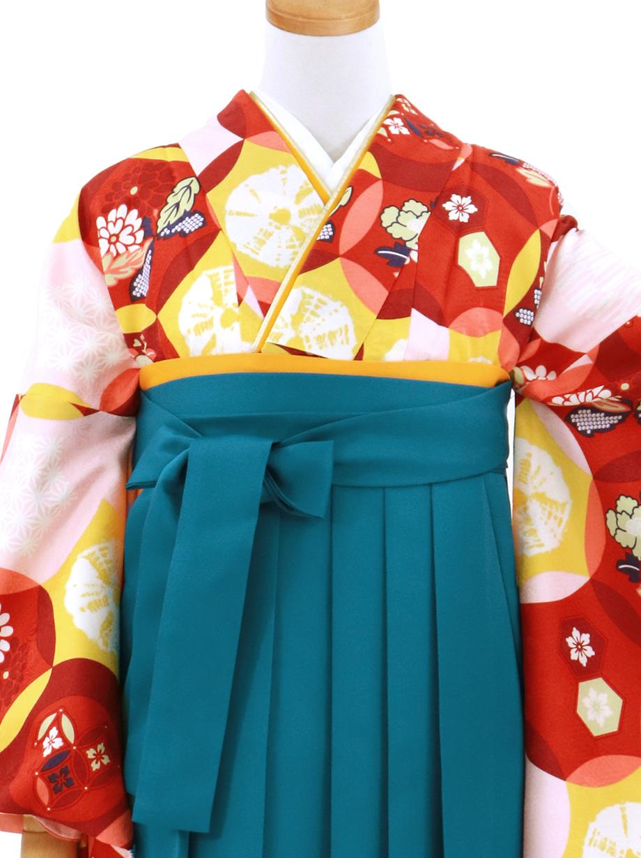 赤の七宝に吉祥柄・青袴(無地)(二尺袖)/卒業式