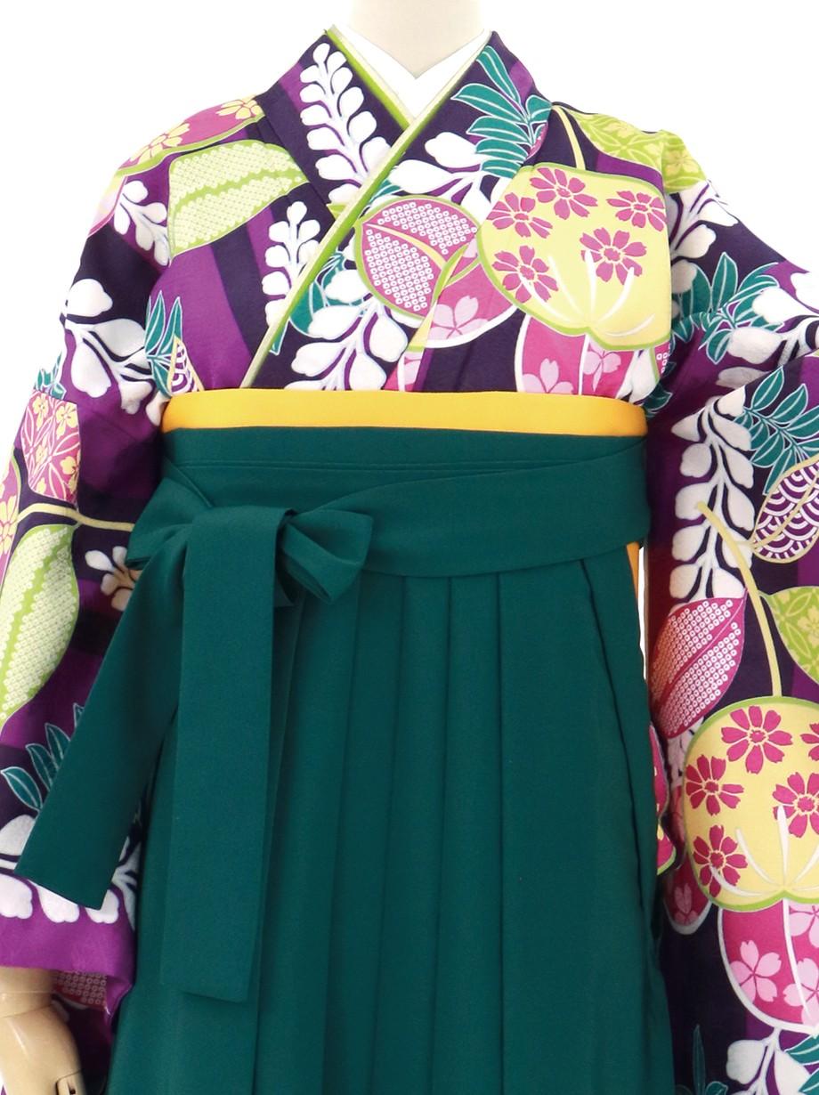 紫の子持ち縞に橘・緑袴(無地)(二尺袖)/卒業式