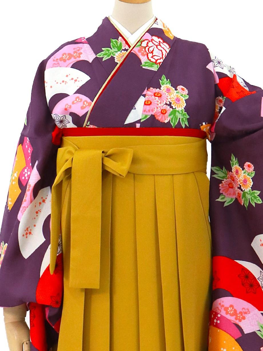 紫地に地紙・マスタード袴(無地)(二尺袖)/卒業式