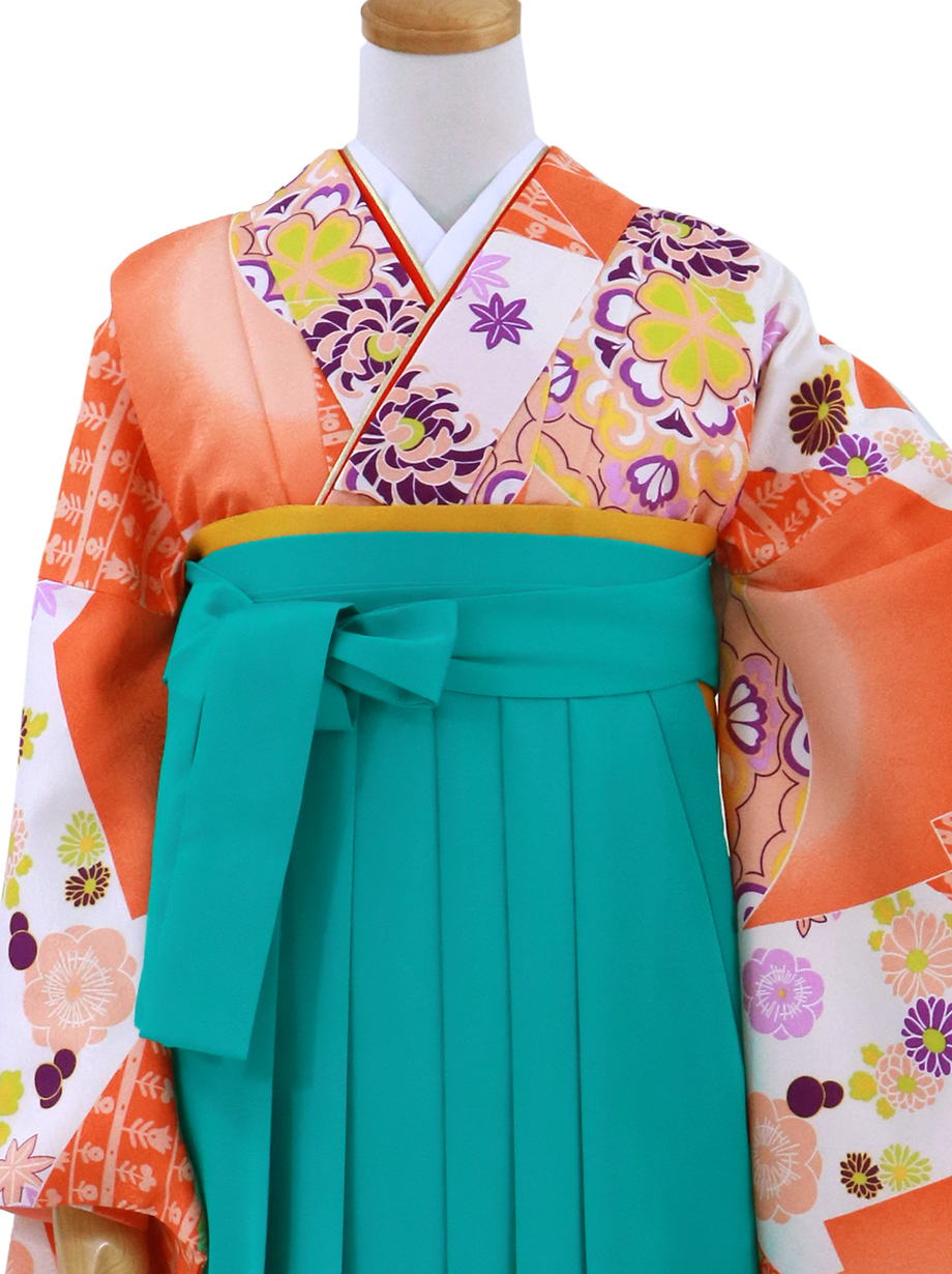 オレンジの松皮菱(まつかわびし)・浅葱袴(無地)(二尺袖)/卒業式