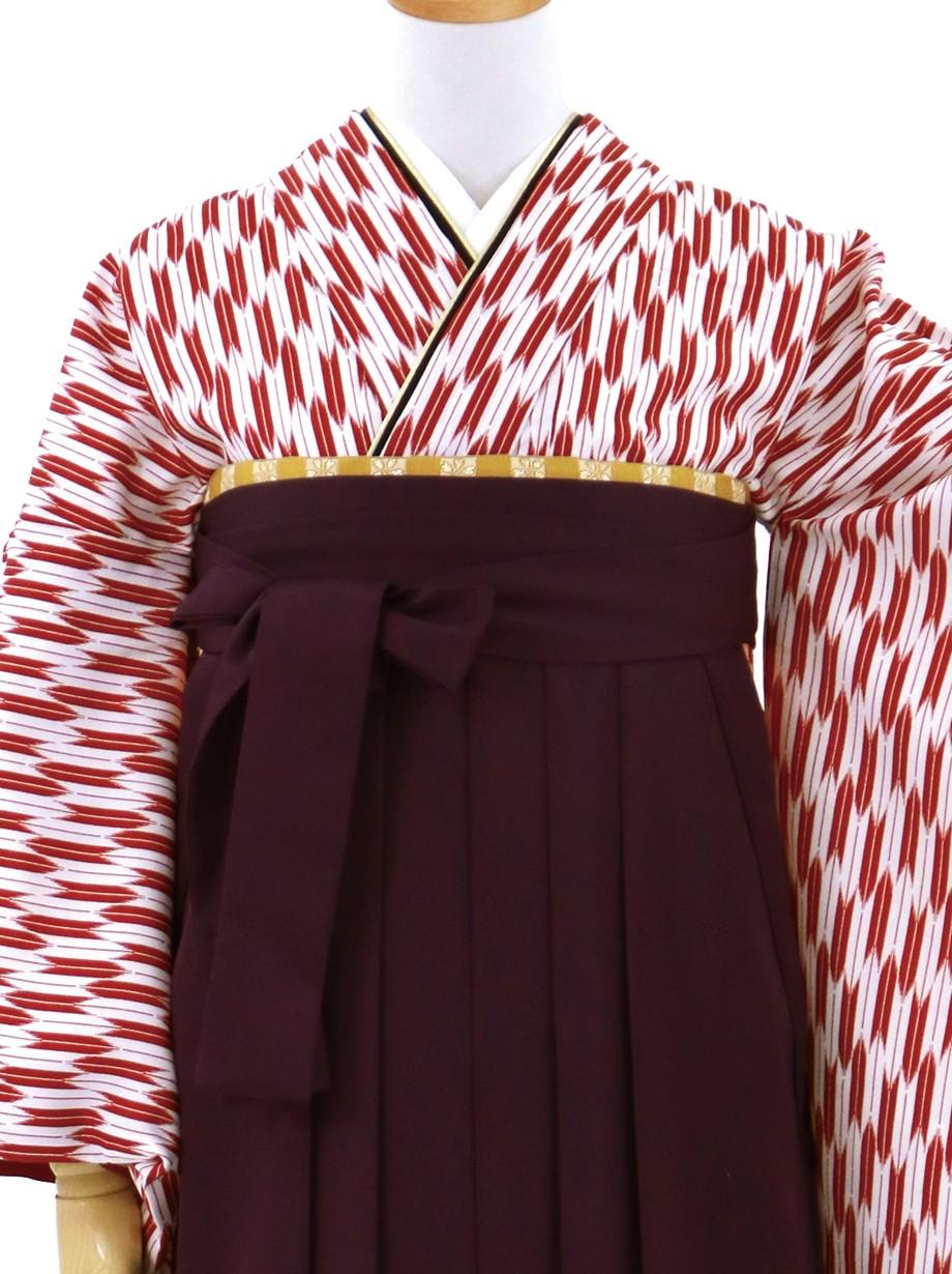赤の小型矢絣・紫袴(無地)(二尺袖)/卒業式