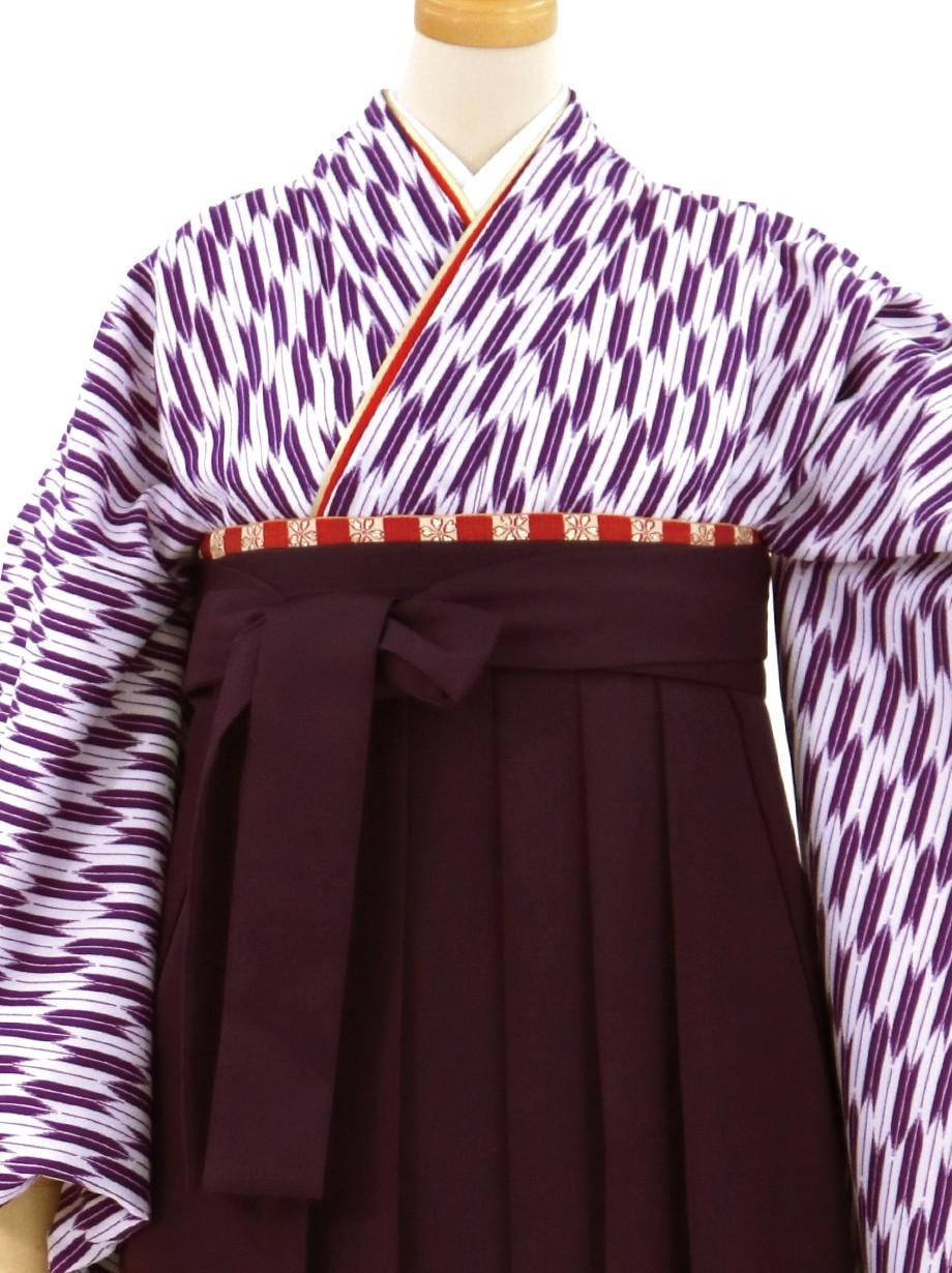 紫の小型矢絣・紫袴(無地)(二尺袖)/卒業式