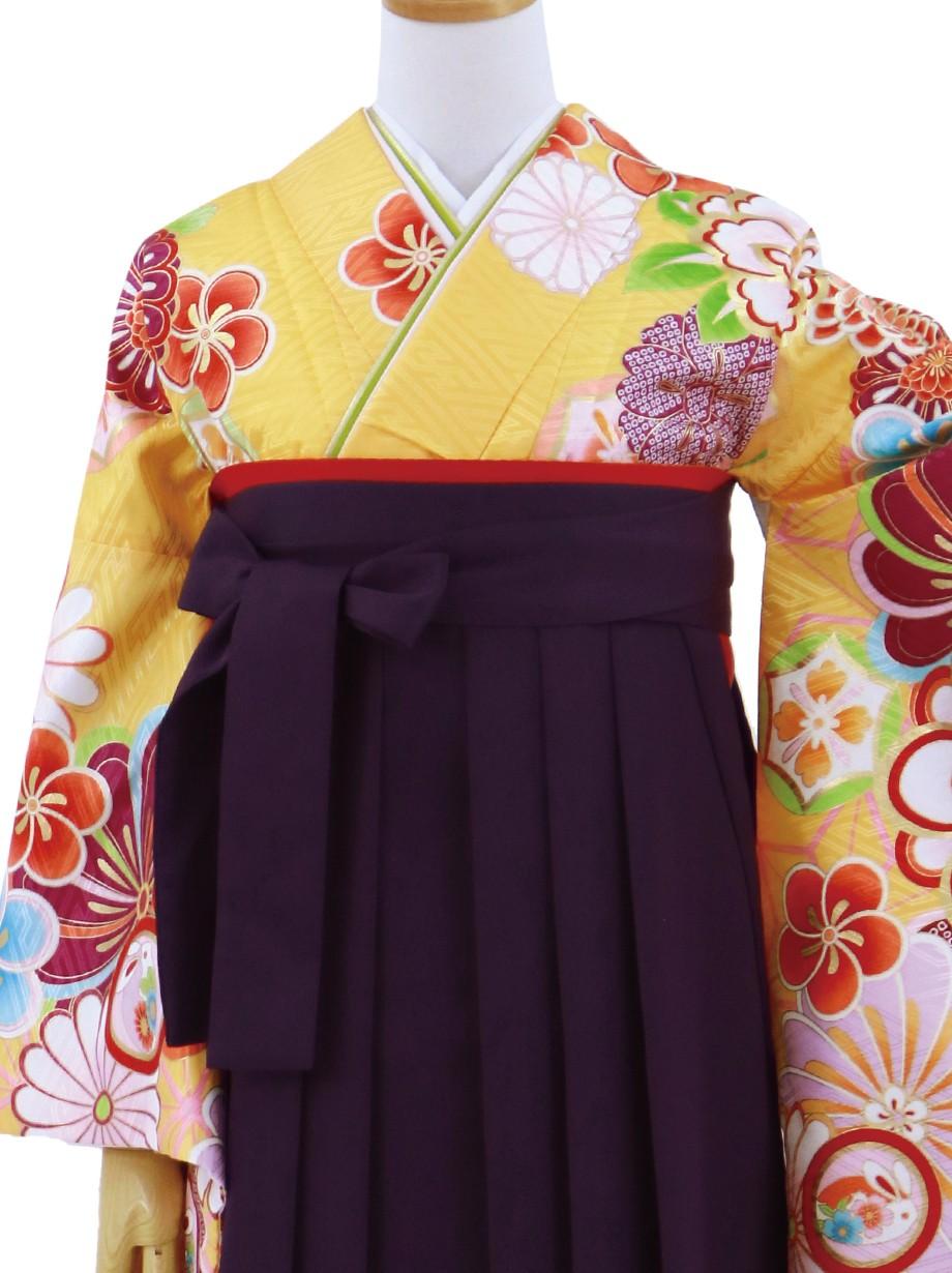 黄色地に花紋・紫袴(無地)(二尺袖)/卒業式