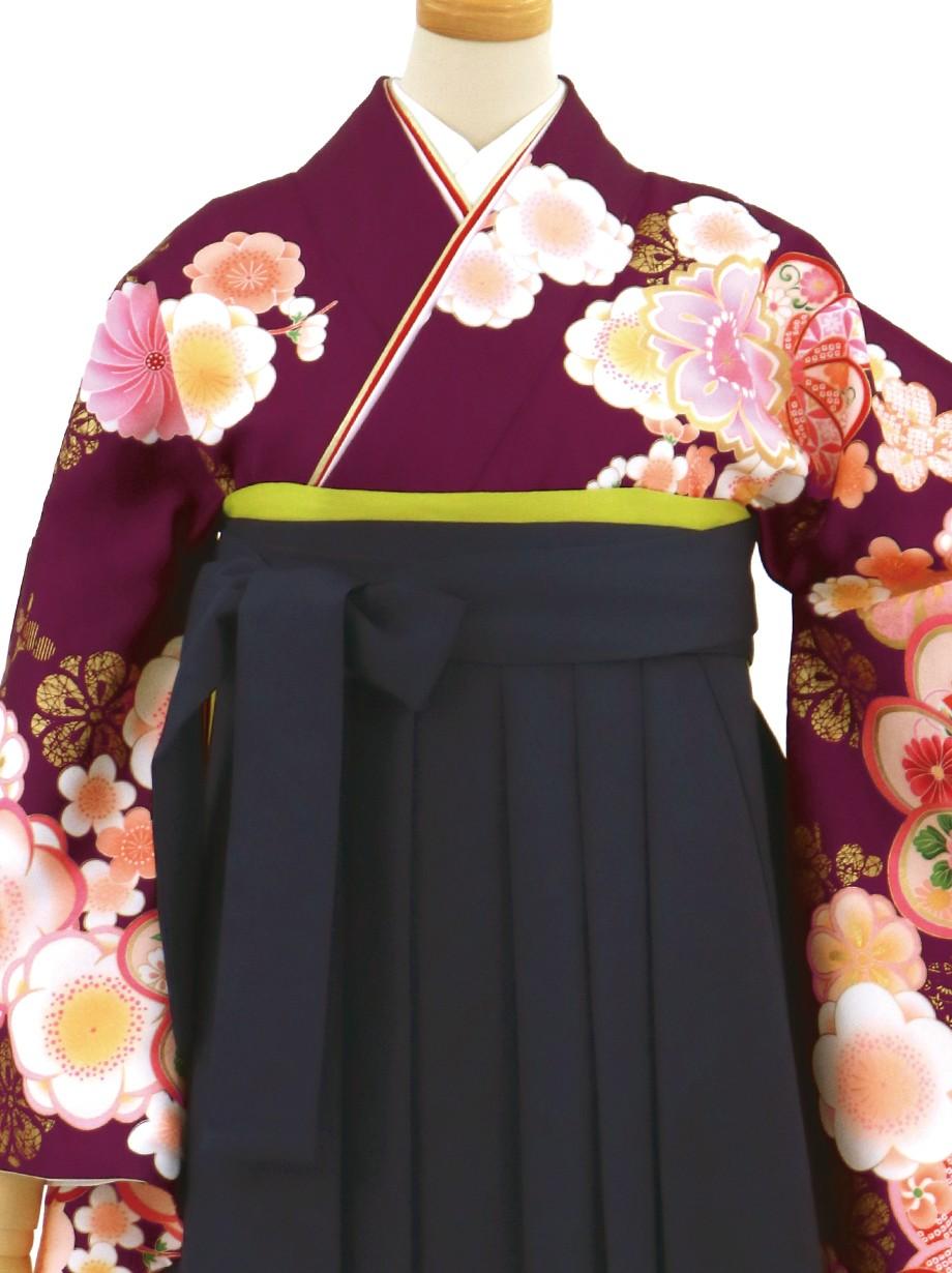 紫地に梅文・紺袴(無地)(二尺袖)/卒業式