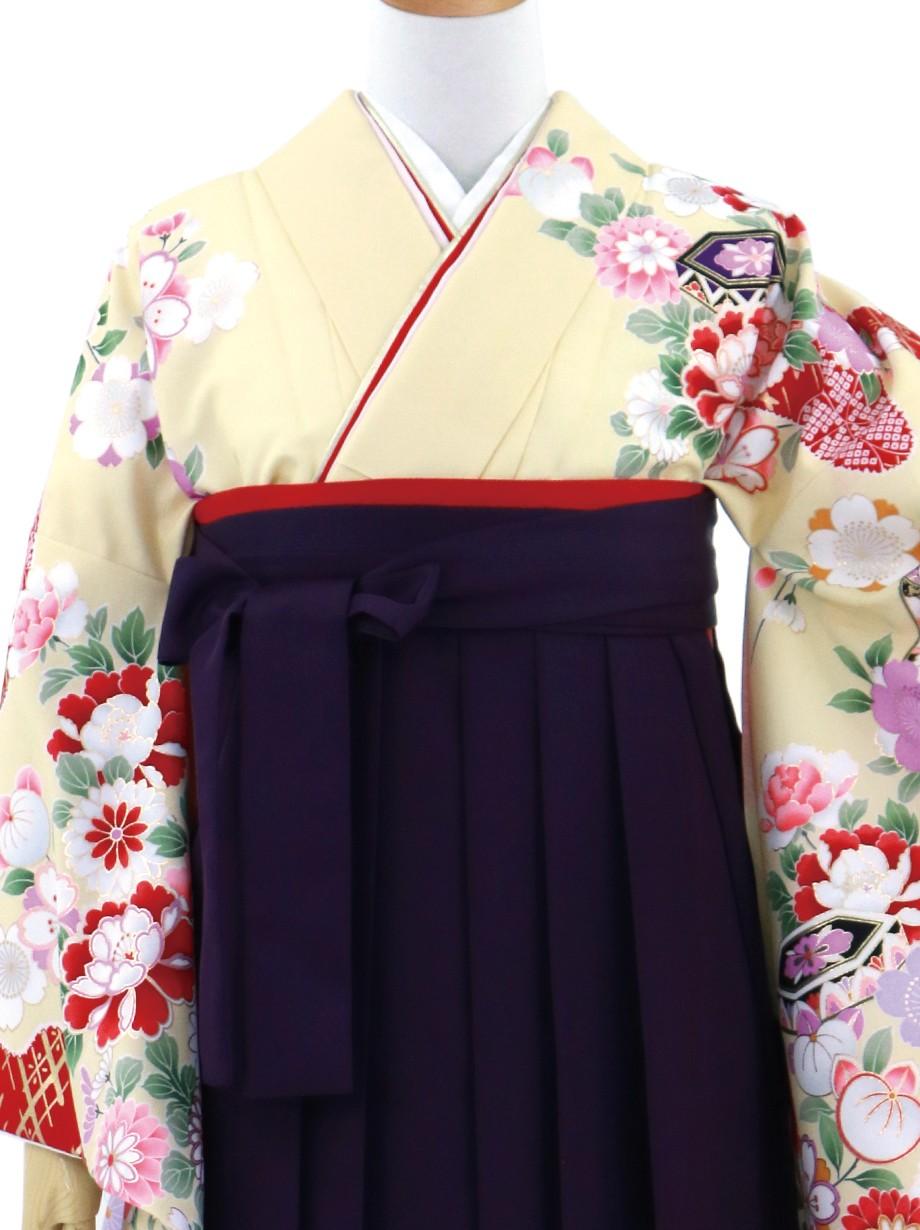 クリーム地に四季花・紫袴(無地)(二尺袖)/卒業式