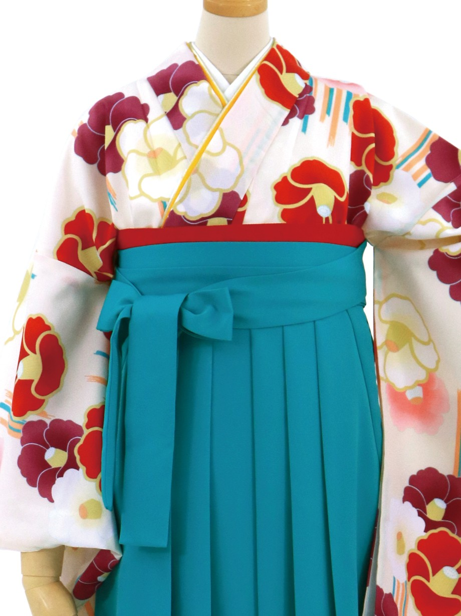 クリーム地に椿づくし・浅葱袴(無地)(二尺袖)/卒業式