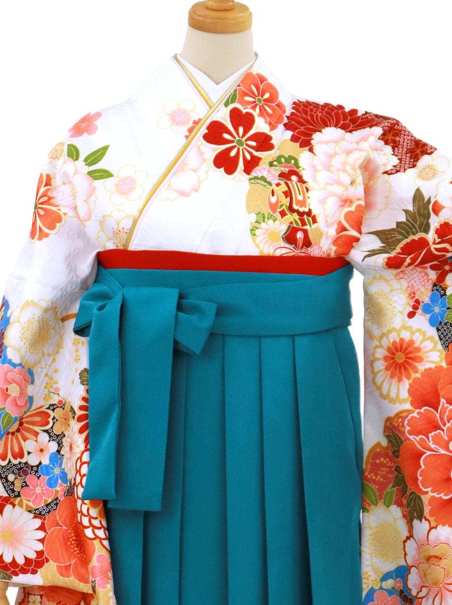 白地に牡丹と雪輪・青袴(無地)(二尺袖)/卒業式