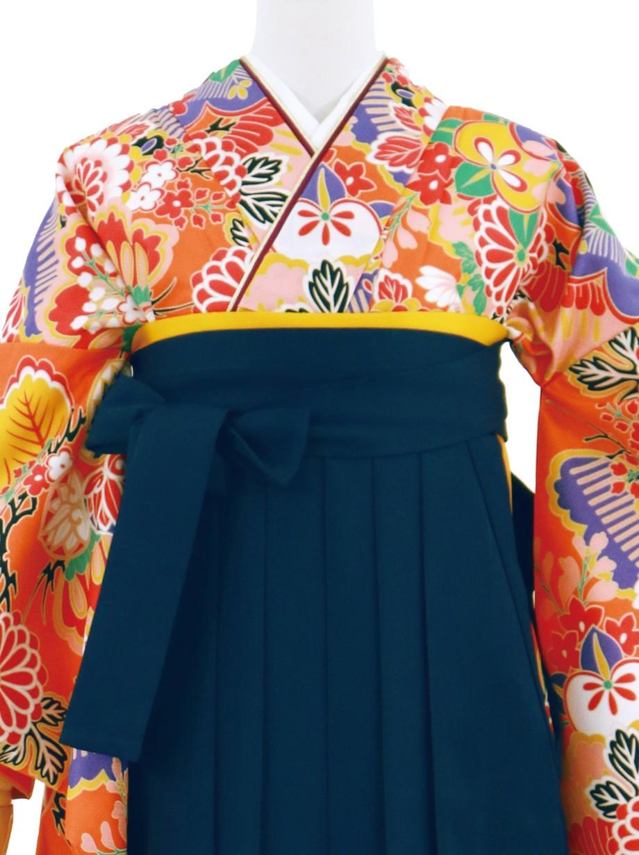 オレンジに花尽くし・紺袴(無地)(二尺袖)/卒業式