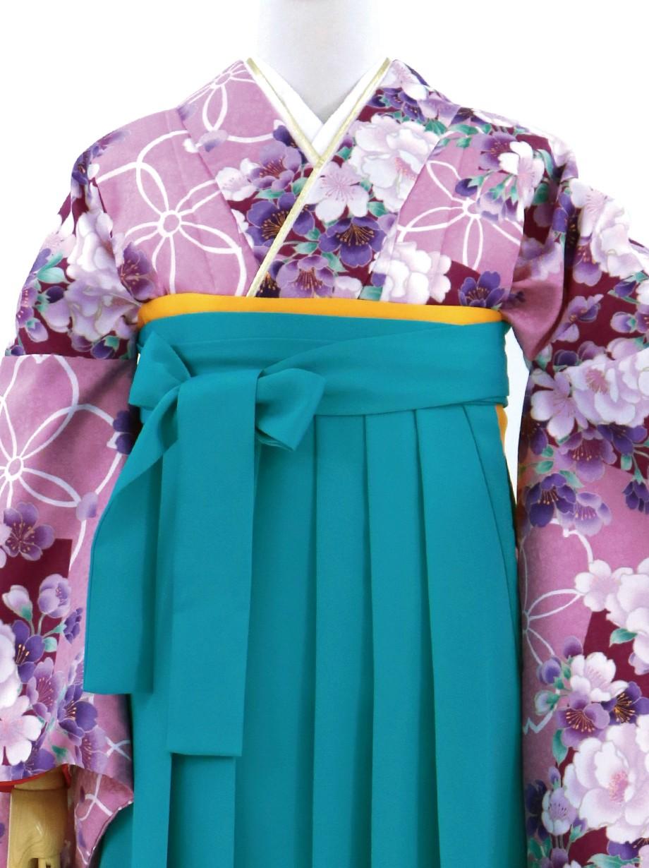 紫地に花・浅葱袴(無地)(二尺袖)/卒業式
