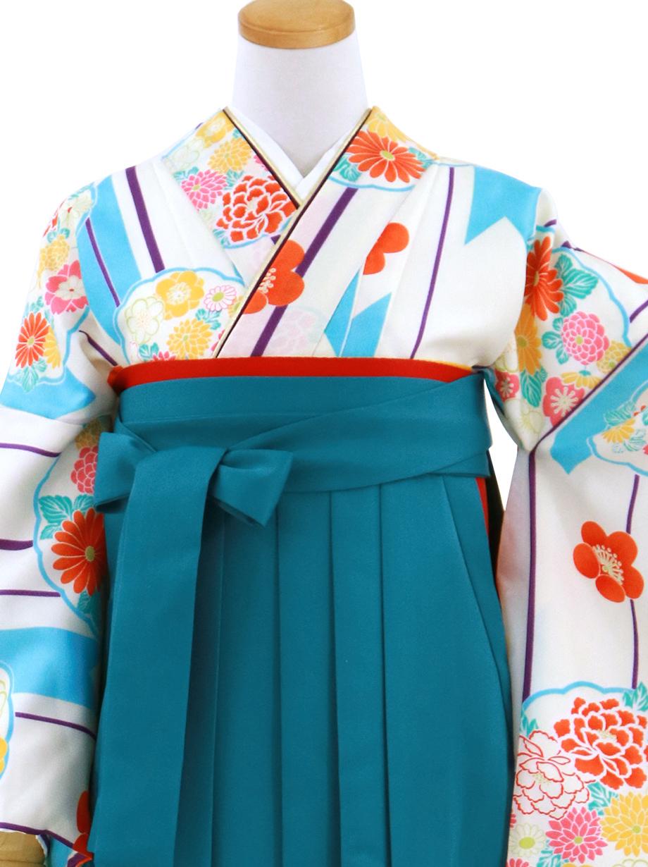 白地に矢絣と花丸文・青袴(無地)(二尺袖)/卒業式