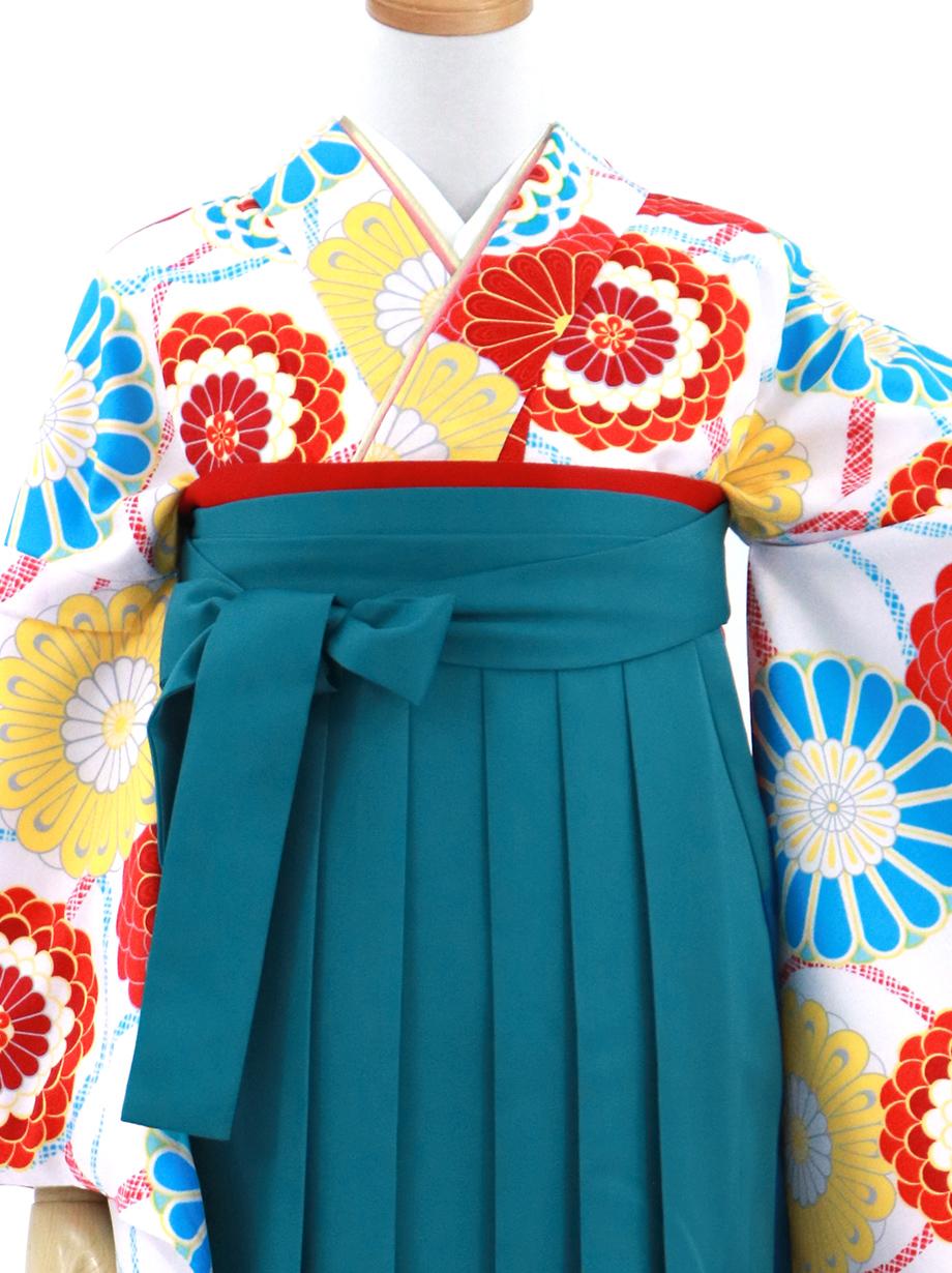 白地に花文・青袴(無地)(二尺袖)/卒業式