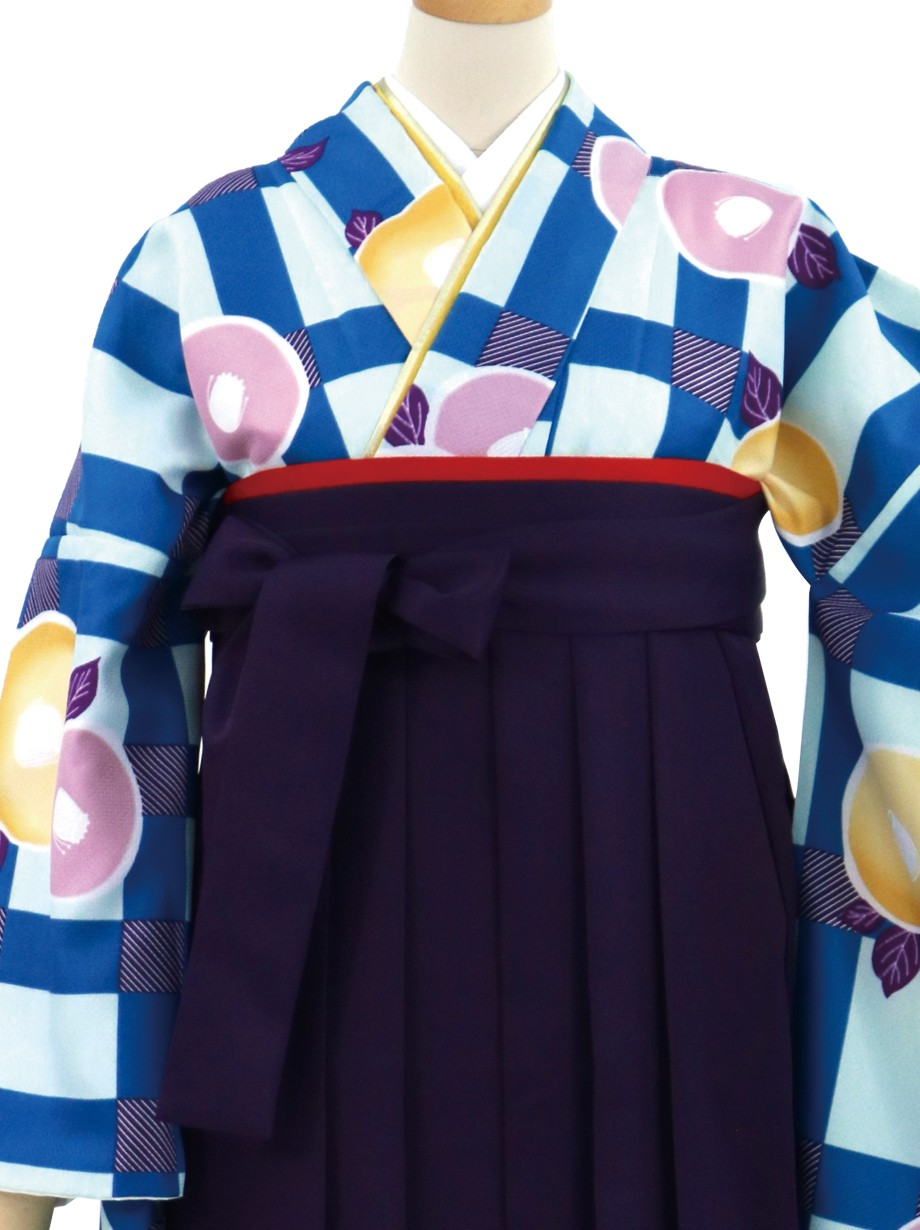 水色地に格子と丸椿・紫袴(無地)(二尺袖)/卒業式
