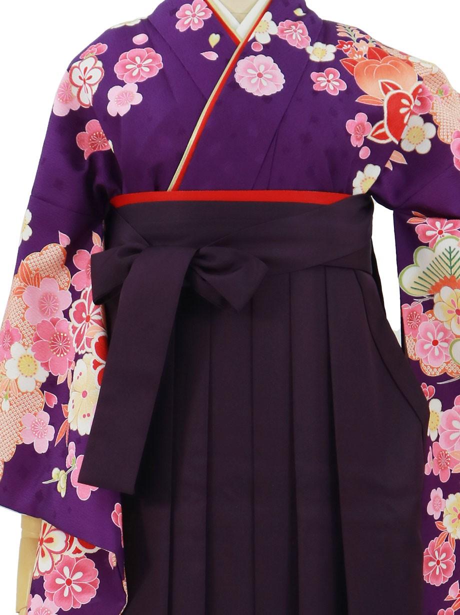 紫地に桜と橘、紫袴(無地)(二尺袖)/卒業式