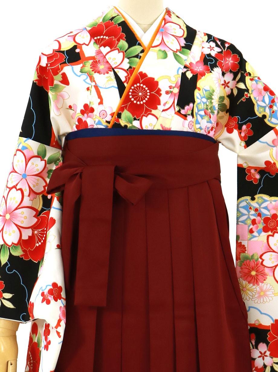 黒と白の段替わりに花と雪輪、臙脂袴(無地)(二尺袖)/卒業式
