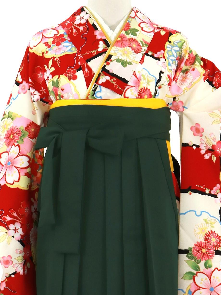 赤と白の段替わりに花と雪輪、深緑袴(無地)(二尺袖)/卒業式