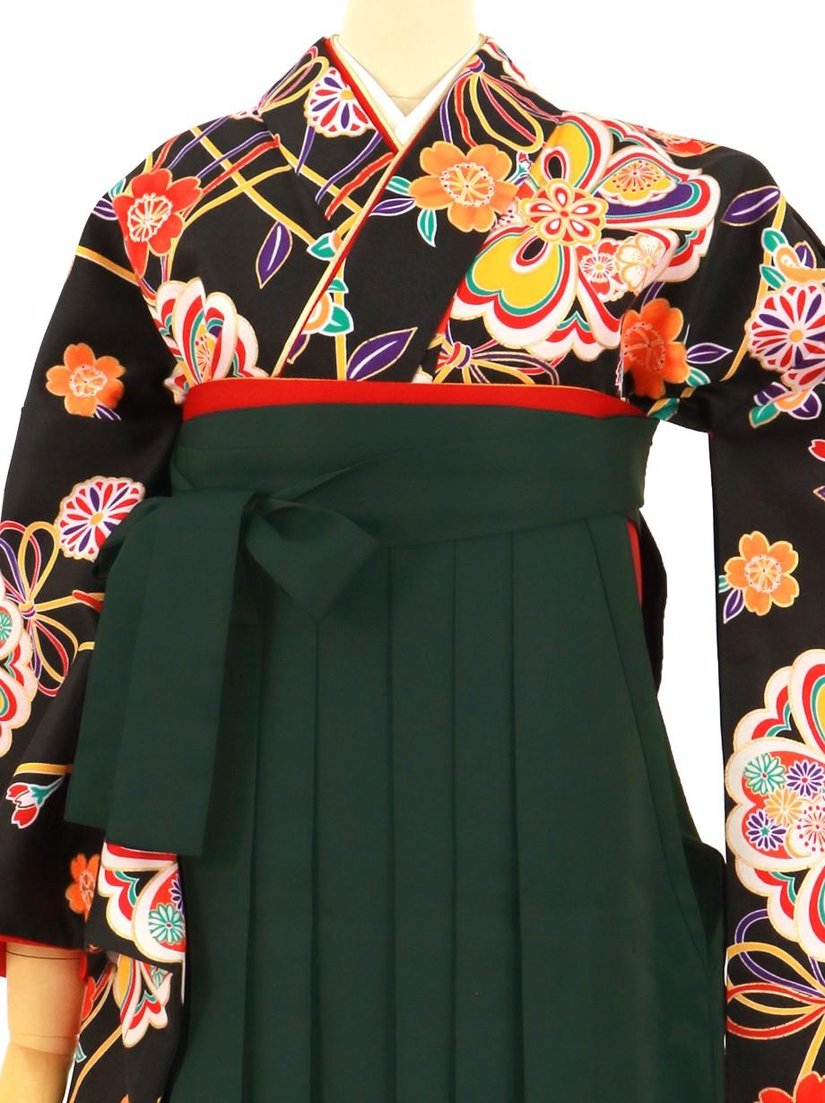 黒地に華やかな花模様、深緑袴(無地)(二尺袖)/卒業式