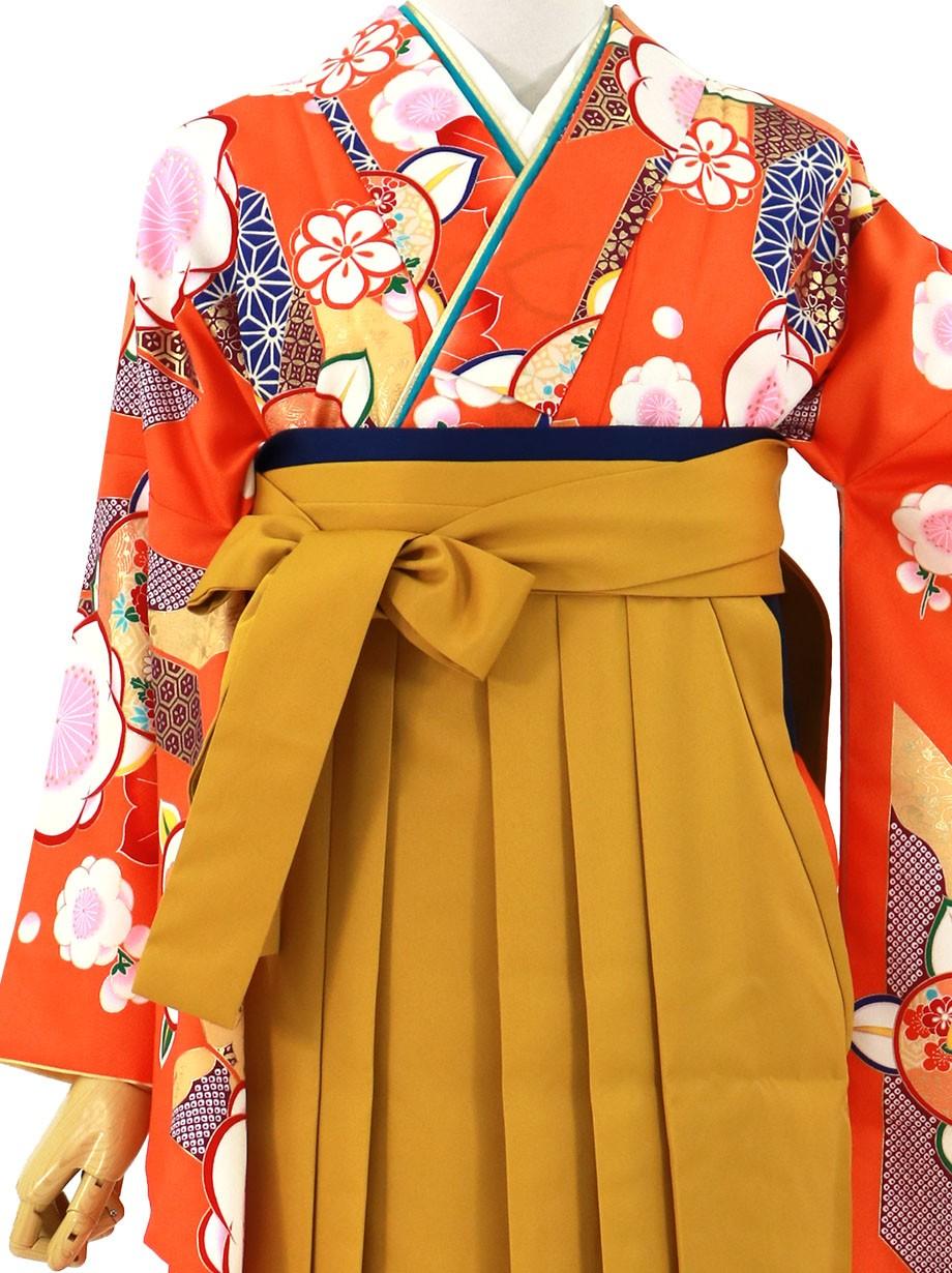 オレンジに橘と矢絣、マスタード袴(無地)(二尺袖)/卒業式