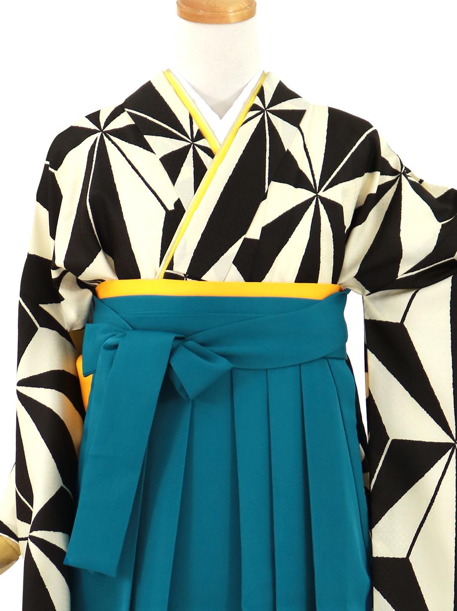 白×黒の麻の葉、青袴(無地)(二尺袖)/卒業式