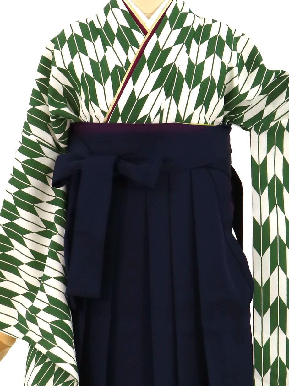 緑地に矢絣、紺袴(無地)(二尺袖)/卒業式