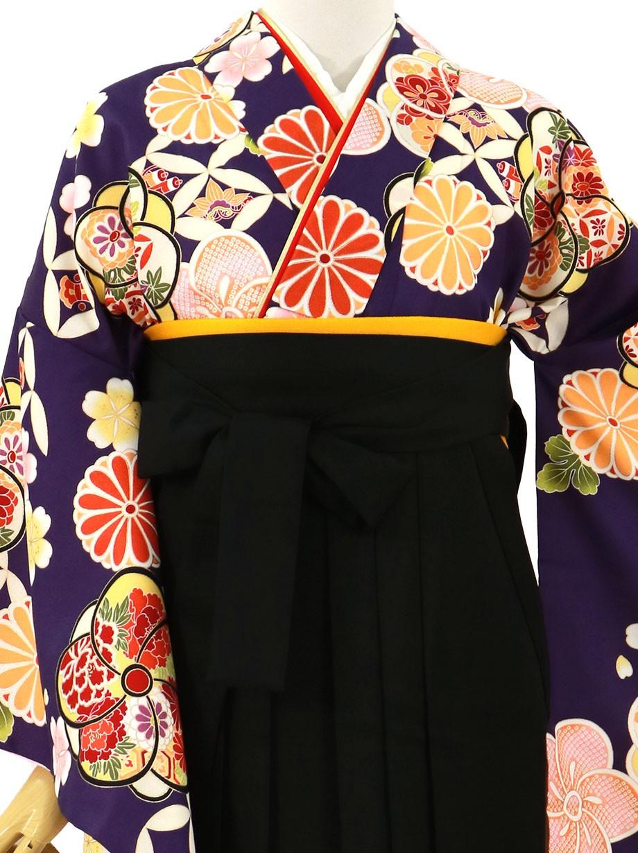 紫地にねじ梅、黒袴(無地)(二尺袖)/卒業式