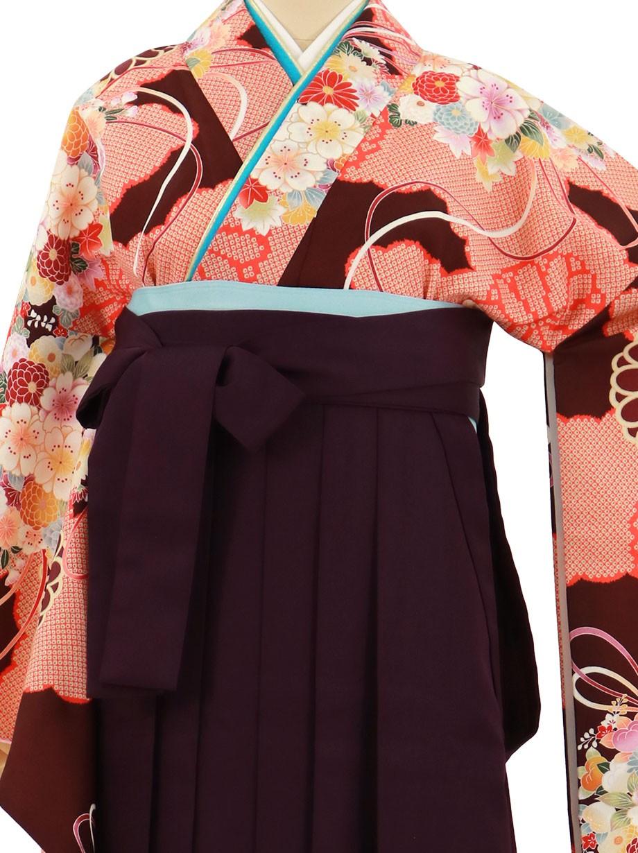 小豆色に雲取りと花の丸文、紫袴(無地)(二尺袖)/卒業式