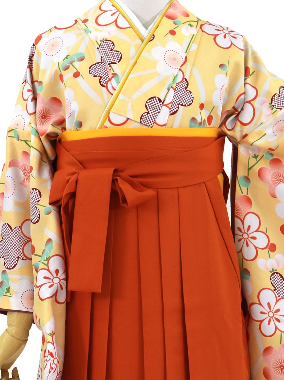 黄色地に梅づくし、オレンジ袴(無地)(二尺袖)/卒業式