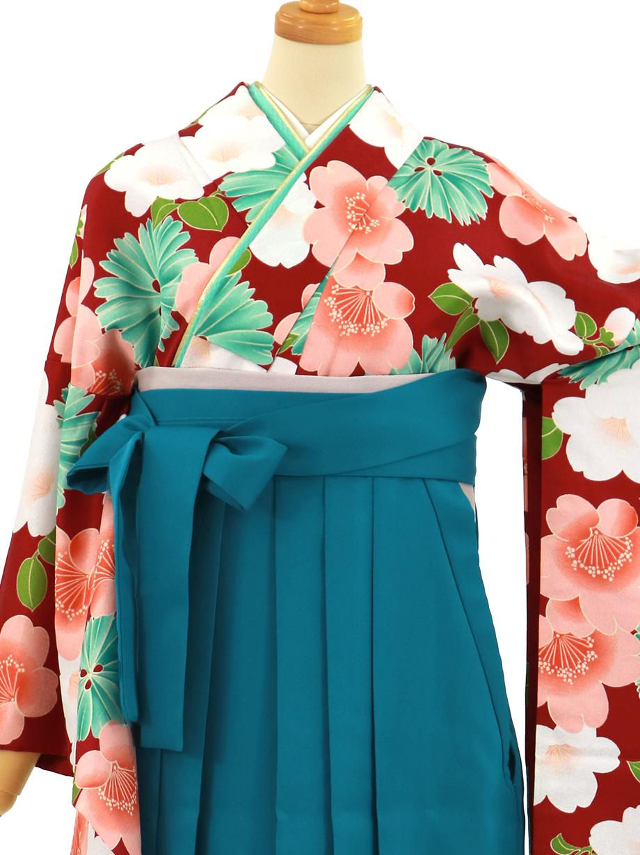 濃い赤に桜、青袴(無地)(二尺袖)/卒業式