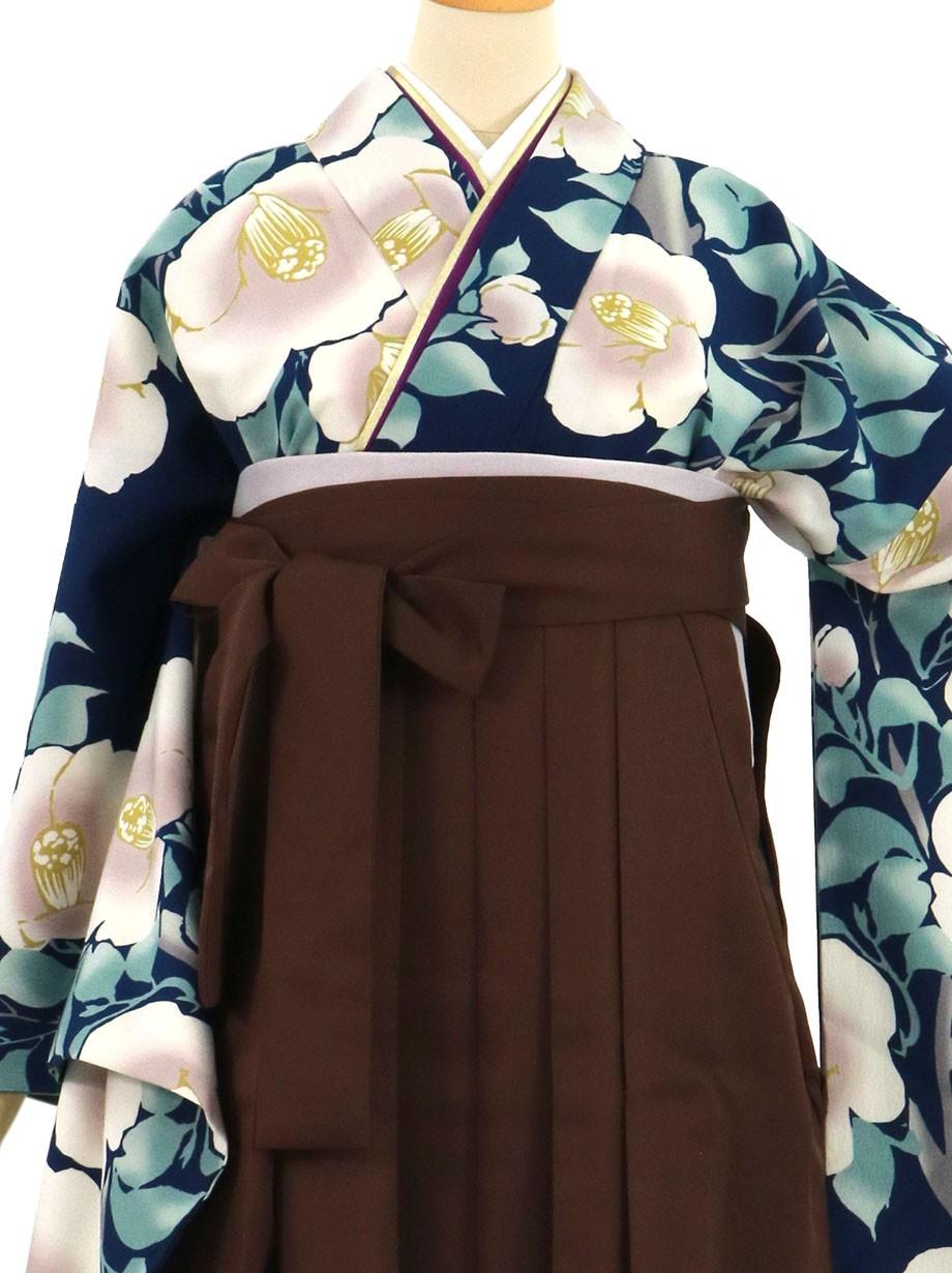 紺地に白椿、茶色袴(無地)(二尺袖)/卒業式