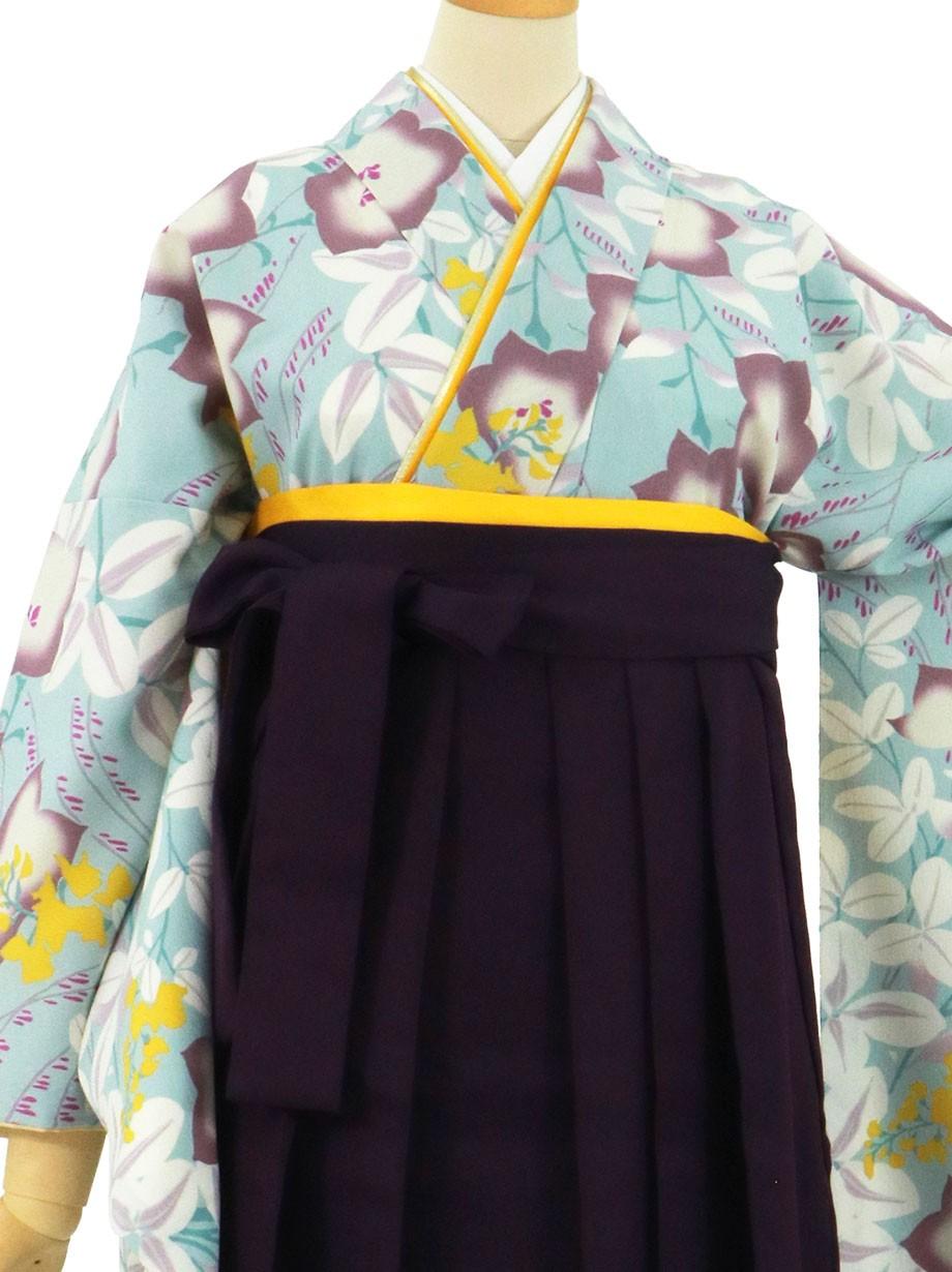 水色地に桔梗、紫袴(無地)(二尺袖)/卒業式