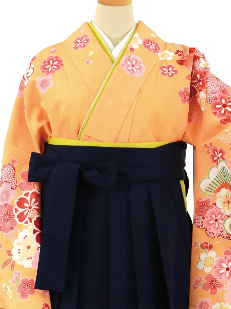 オレンジ地に桜と橘、紺袴(無地)(二尺袖)/卒業式