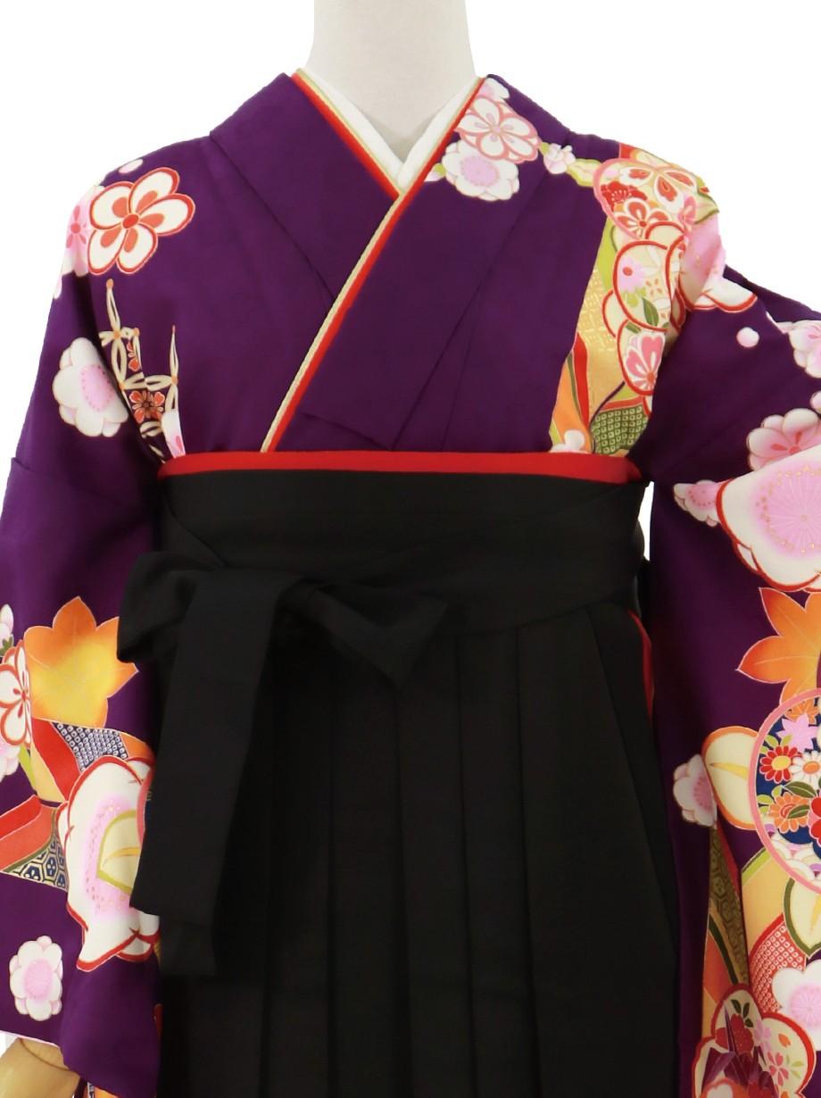 紫地に橘と矢絣、黒袴(無地)(二尺袖)/卒業式