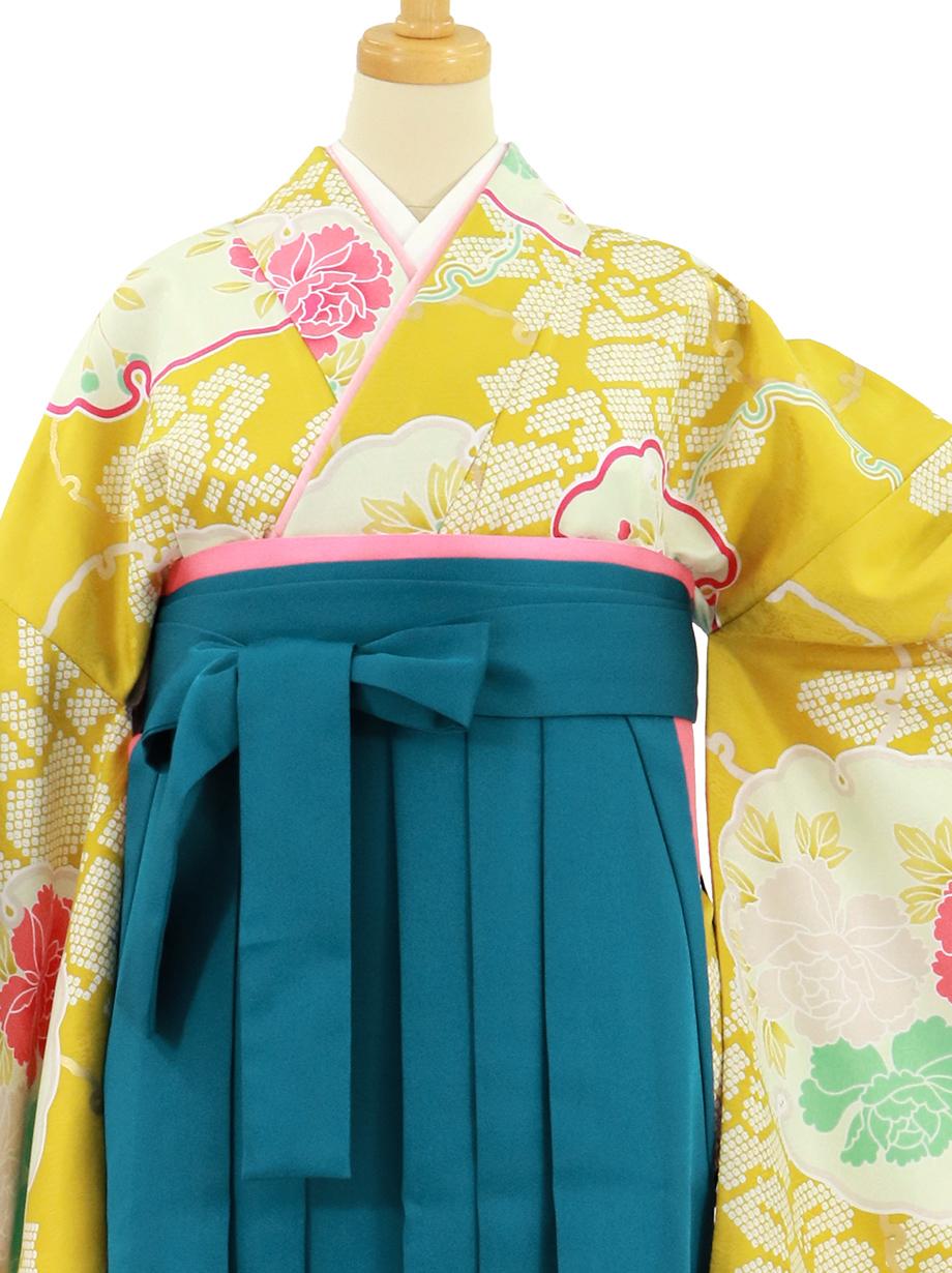 黄色地に雪輪と牡丹、青袴(無地)(二尺袖)/卒業式
