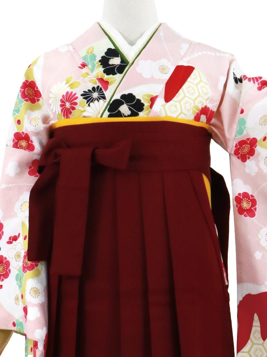 薄ピンク地に貝合わせと花、臙脂袴(無地)(二尺袖)/卒業式