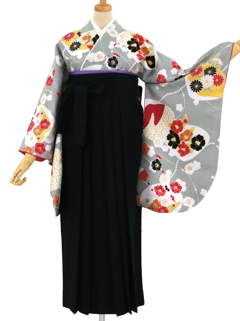 グレー地に貝合わせと花、黒袴(無地)(二尺袖)/卒業式