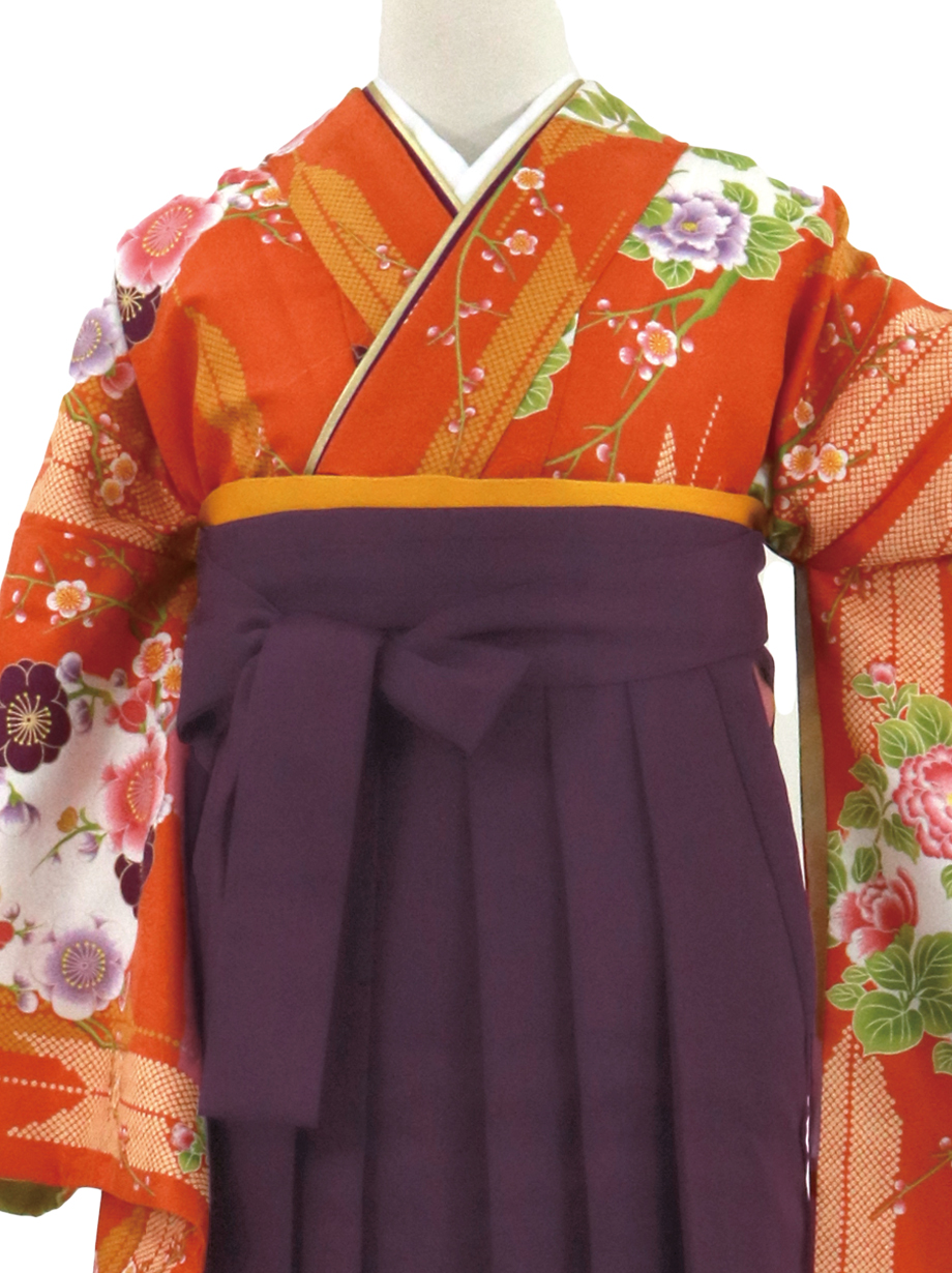 オレンジ地に矢羽と花の丸文、紫袴(無地)(二尺袖)/卒業式