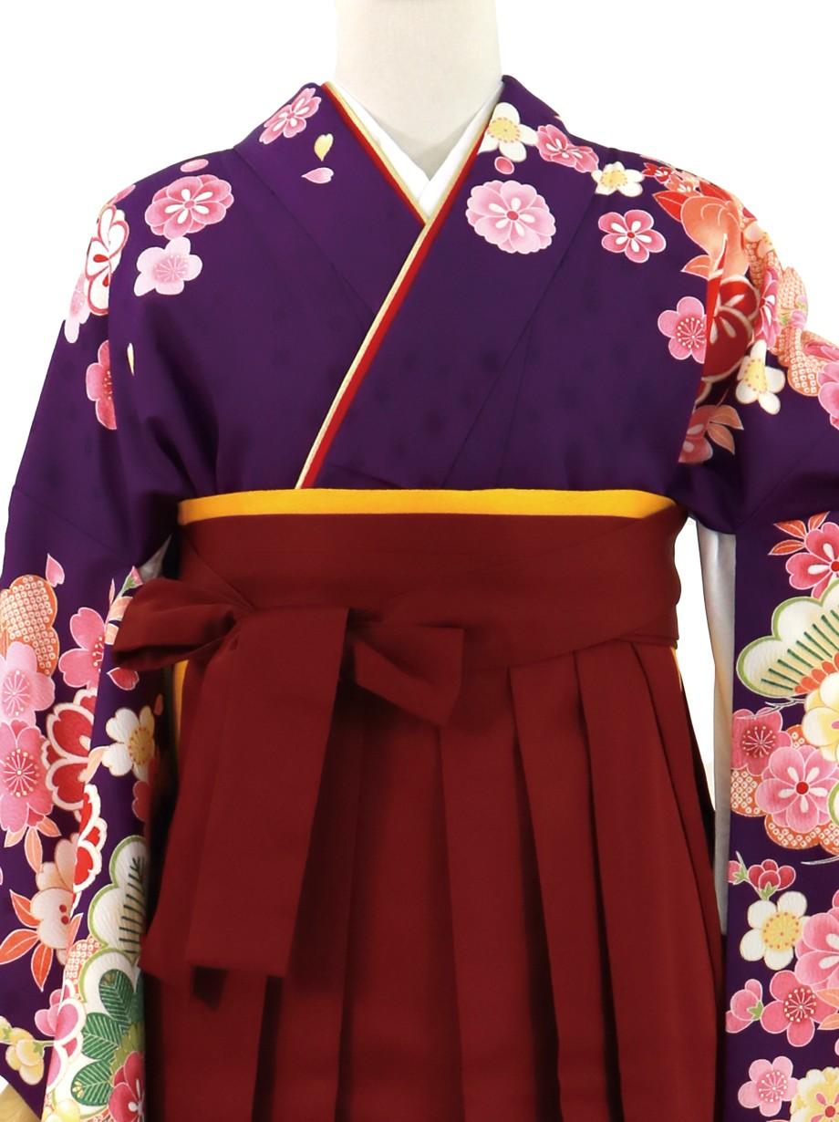 紫地に桜と橘、臙脂袴(無地)(二尺袖)/卒業式