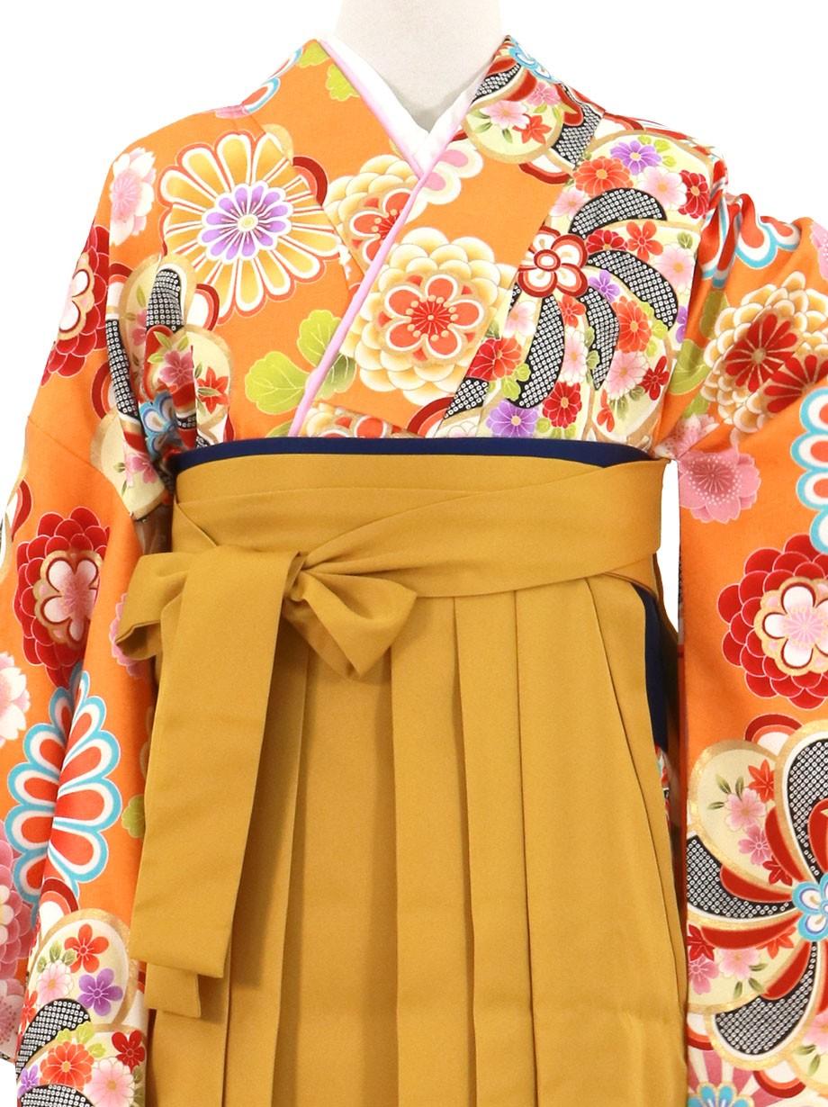 オレンジ地に花紋、マスタード袴(無地)(二尺袖)/卒業式