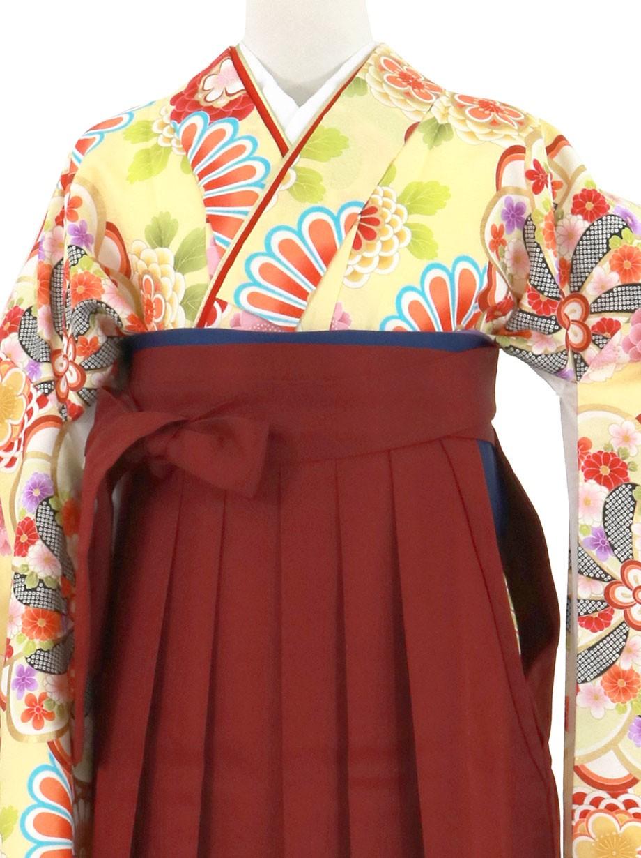 黄色地に花紋、臙脂袴(無地)(二尺袖)/卒業式