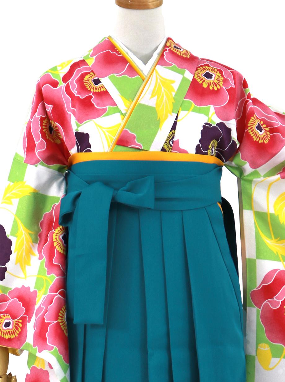 白とグリーンの市松にアネモネ・青袴(無地)(二尺袖)/卒業式