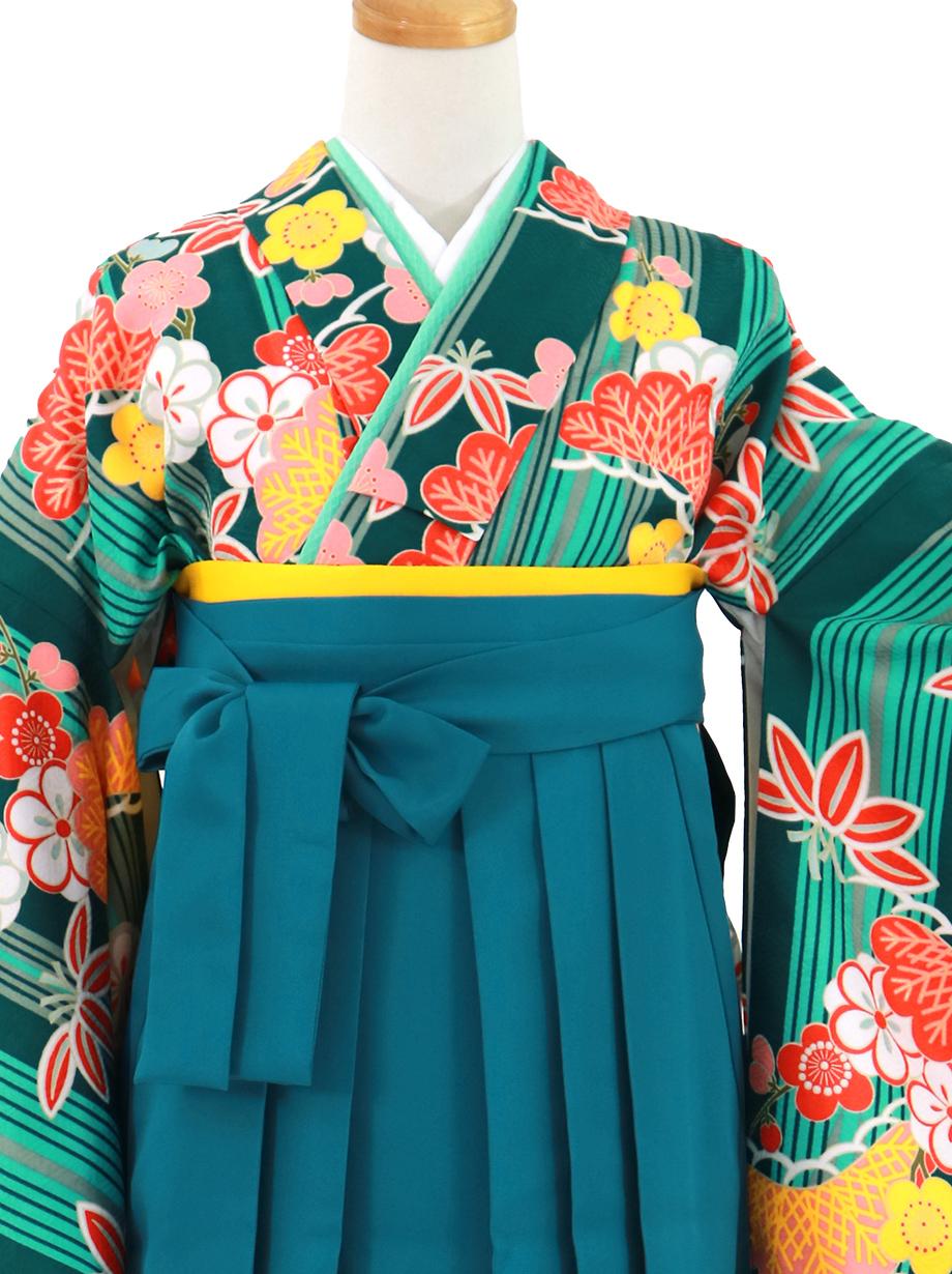 グリーンに縞と松竹梅、青袴(無地)(二尺袖)/卒業式