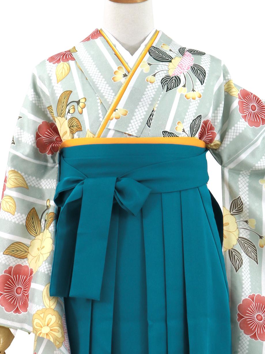 浅縹地にストライプと桜、青袴(無地)(二尺袖)/卒業式