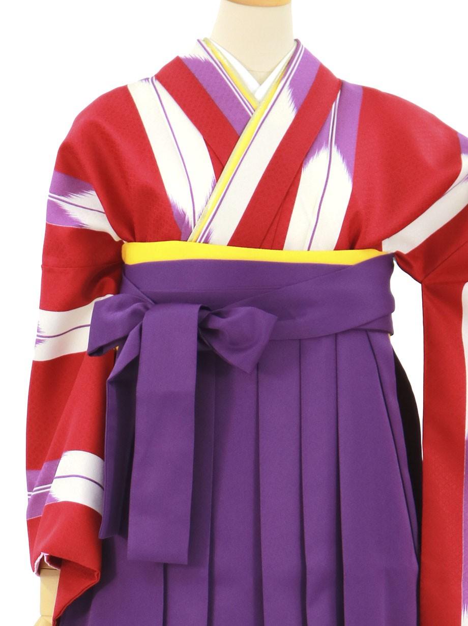 赤地に紫の矢絣、本紫袴(無地)(二尺袖)/卒業式